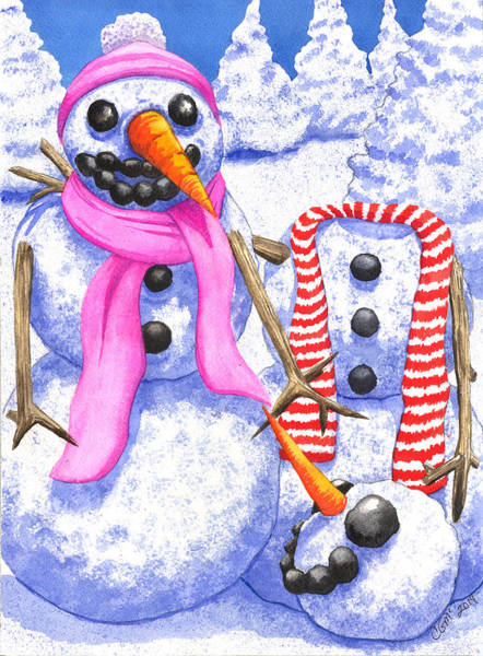 Painting - Frosty Always Loses His Head Over A Pretty Girl by Catherine G McElroy