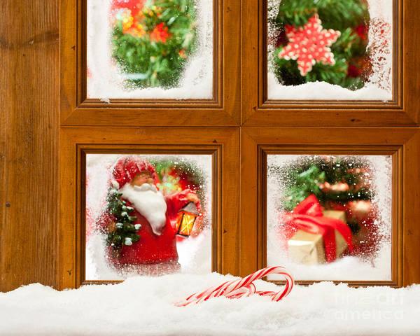 Window Pane Photograph - Frosty Christmas Window by Amanda Elwell