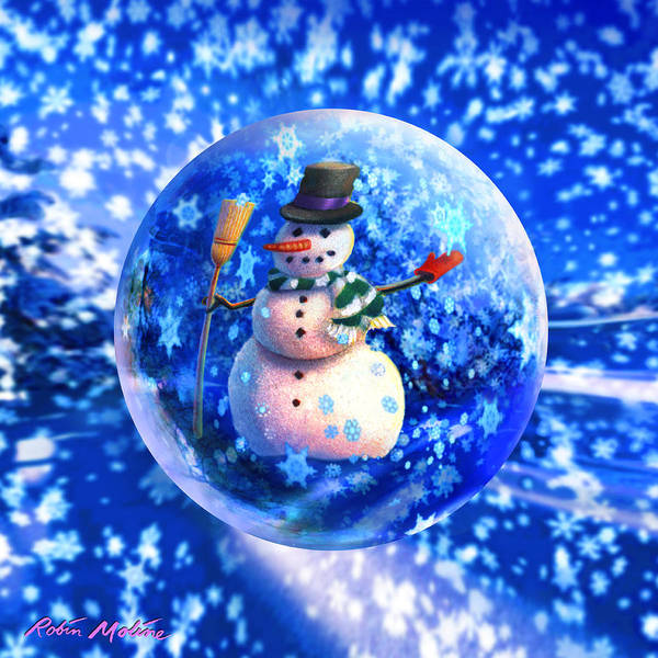 Frosty Digital Art - Frosty The Snowglobe by Robin Moline