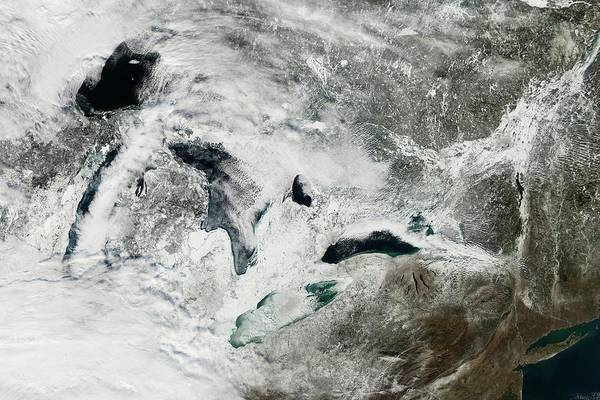 Earth Observation Wall Art - Photograph - Frozen Great Lakes by Nasa Earth Observatory