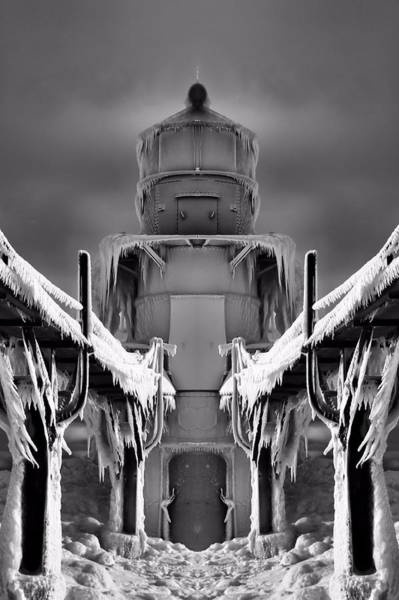 Wall Art - Photograph - Frozen Lighthouse And Pier Surreal by Dan Sproul