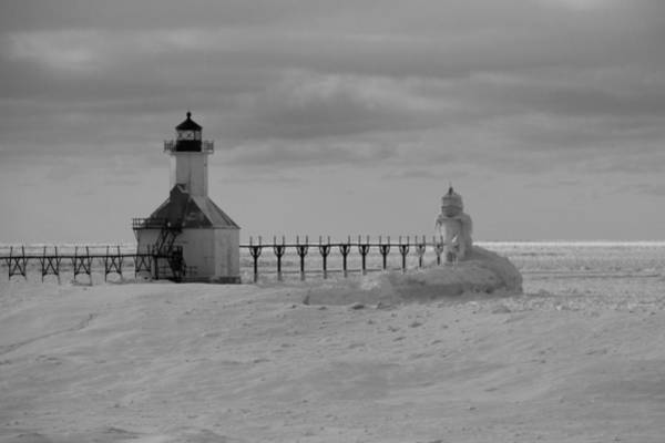 Photograph - Frozen Lighthouses In Michigan by Dan Sproul