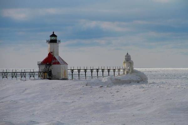 Photograph - Frozen Lighthouses On Lake Michigan by Dan Sproul