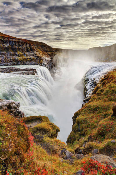 Object Photograph - Frozen Mist On Autumn Day At Gullfoss by Anna Gorin