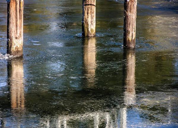 Photograph - Pier Ice Frozen Ocean  by Roxy Hurtubise