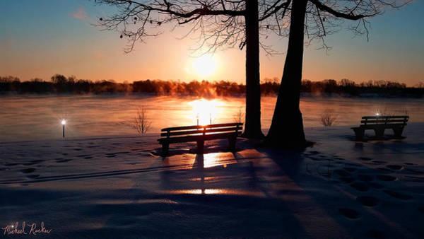 Michigan Wall Art - Photograph - Frozen Park Benches by Michael Rucker