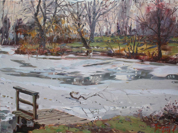 Lake Shore Wall Art - Painting - Frozen Pond by Ylli Haruni
