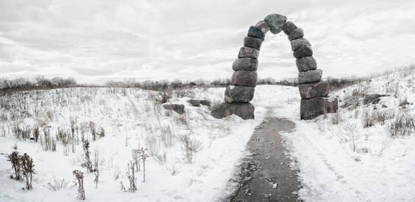 Entrance Photograph - Frozen Stone Arch by Scott Norris