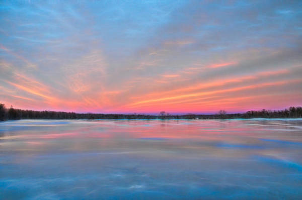 Photograph - Frozen Sunset Reflections by Beth Sawickie