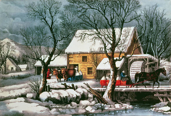 Water Wheel Wall Art - Painting - Frozen Up by Currier and Ives
