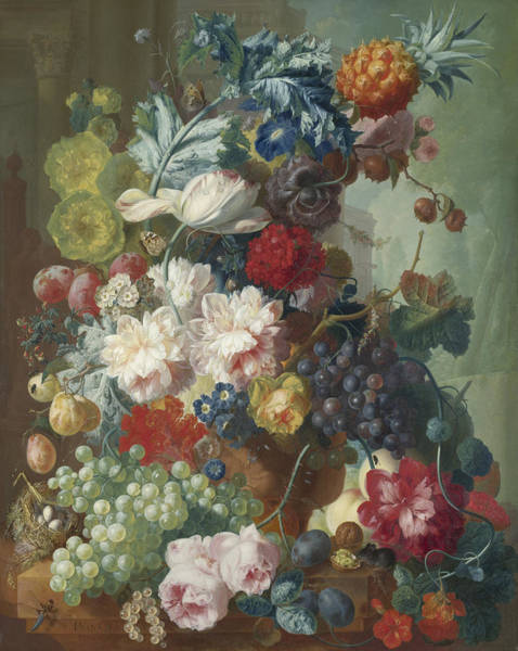 Wall Art - Painting - Fruit And Flowers In A Terracotta Vase by Jan van Os