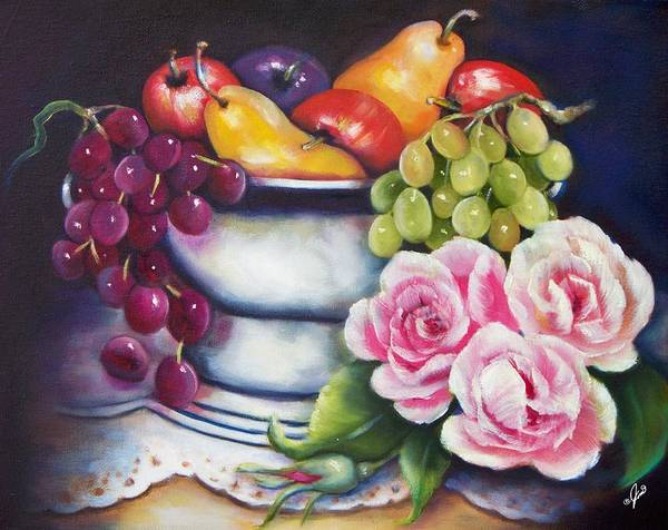 Painting - Fruit And Pink Roses by Joni McPherson