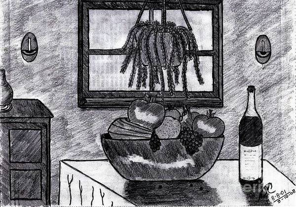 Drawing - Fruit And Wine N The Morning by Neil Stuart Coffey