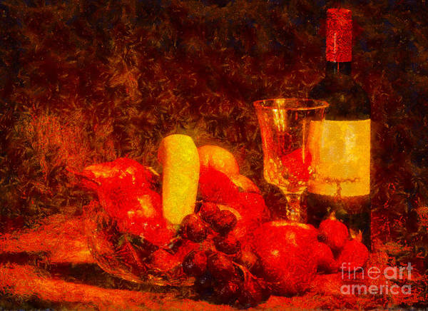 Photograph - Fruit Bowl And Wine - V3 by Les Palenik