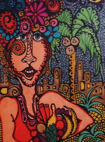 Coco Drawing - Fruit Market Lady by Gerri Rowan