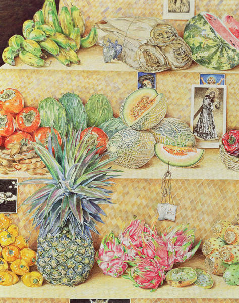 Pineapple Photograph - Fruit-stall, La Laguinilla, 1998 Oil On Canvas Detail Of 240164 by James Reeve