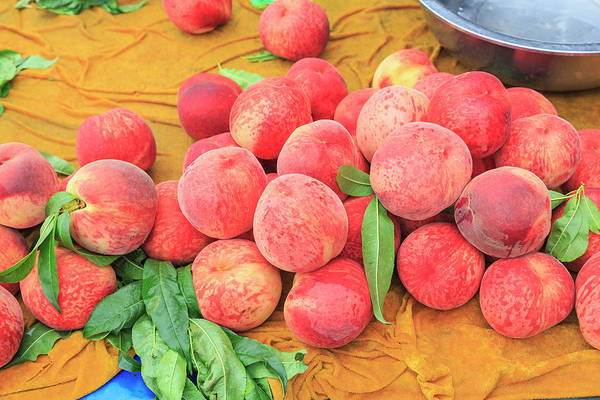 Beijing Photograph - Fruit Stand Selling Fresh Peaches by Stuart Westmorland