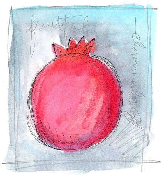 Pomegranates Painting - Fruitful Beginning by Linda Woods