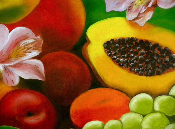 Manzana Wall Art - Painting - Fruits And Flowers by Fanny Diaz
