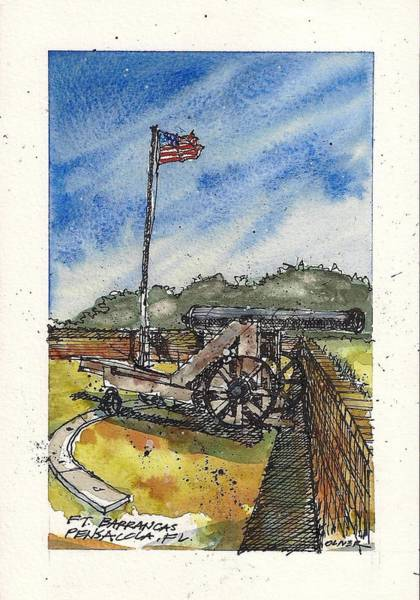 Pen And Ink Mixed Media - Ft. Barrancas Cannon by Tim Oliver
