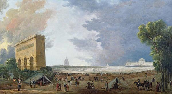 Mars Photograph - Fête De La Fédération On The Champ De Mars, 14 July 1790 Oil On Canvas by Hubert Robert