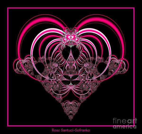 Digital Art - Fuchsia Pink Heart Fractal 77 by Rose Santuci-Sofranko