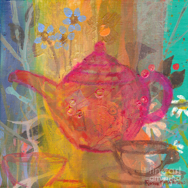Painting - Fuchsia Tea Pot by Robin Maria Pedrero