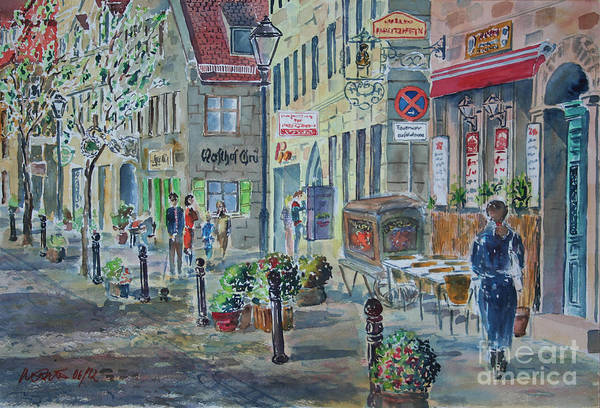 Wall Art - Painting - Fuerth Gustavstrasse by Almo M