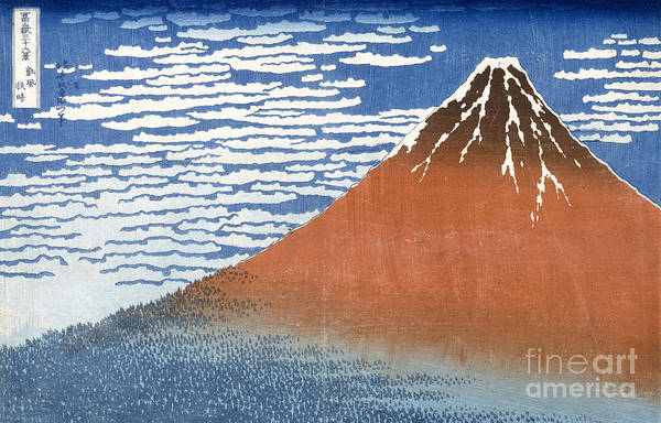 Far East Painting - Fuji Mountains In Clear Weather by Hokusai