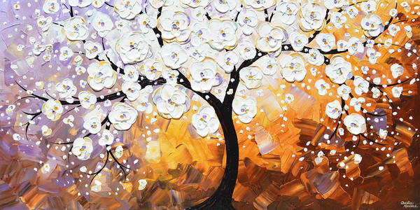 Wall Art - Painting - Full Bloom - White Blossoming Cherry Tree by Christine Bell