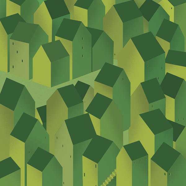 Town Square Digital Art - Full Frame Pattern Of Green Houses In by Yenpitsu Nemoto