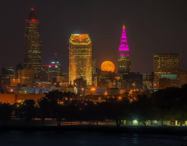 Photograph - Full Hunter Moon Over Cleveland by Richard Kopchock