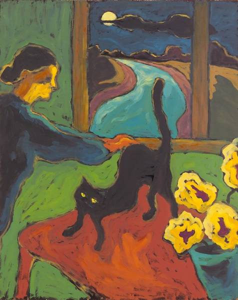 Black Cats Photograph - Full Moon, 2004 Oil On Board by Marta Martonfi-Benke
