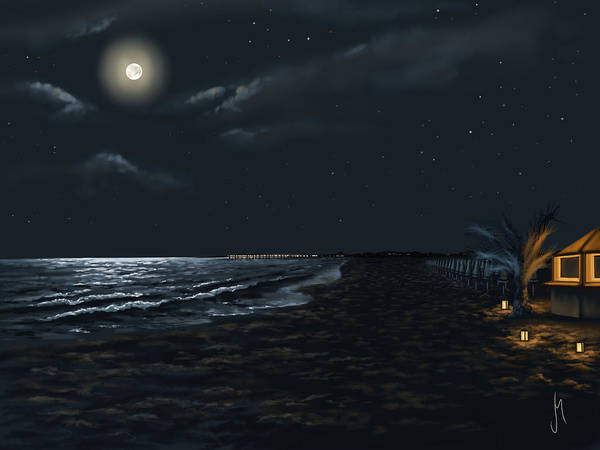 Sea Star Painting - Full Moon Above The Mediterranean Sea by Veronica Minozzi