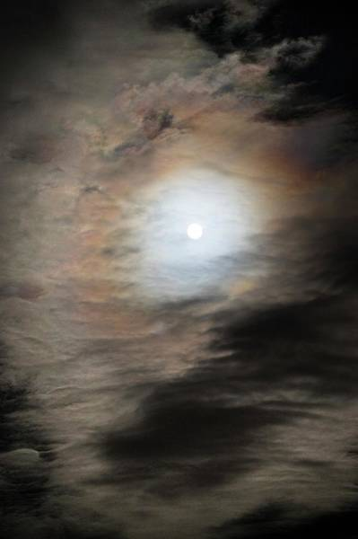 Halo Photograph - Full Moon And Clouds by Chris Madeley