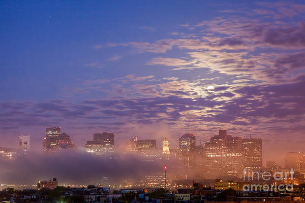 Photograph - Full Moon And Fog In Boston by Susan Cole Kelly