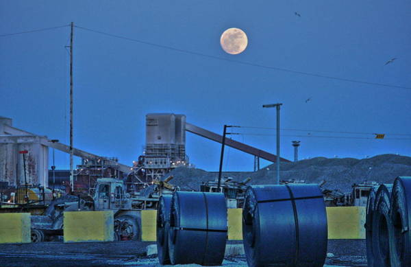 Wall Art - Photograph - Full Moon And Steel Coils by Al Shields