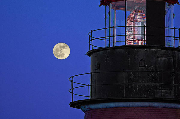 Wall Art - Photograph - Full Moon And West Quoddy Head Lighthouse Beacon by Marty Saccone