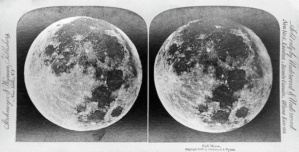Stereogram Photograph - Full Moon Circa 1899 by Us Naval Observatory/science Photo Library