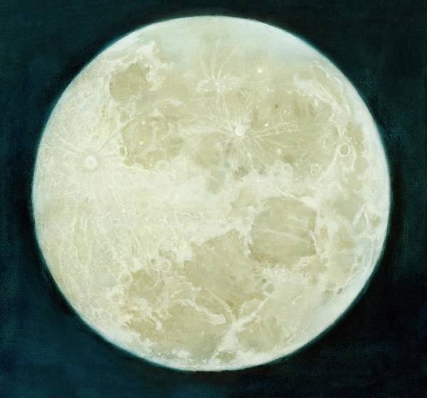 Pastel Drawing Photograph - Full Moon Drawn By John Russell by Royal Astronomical Society/science Photo Library