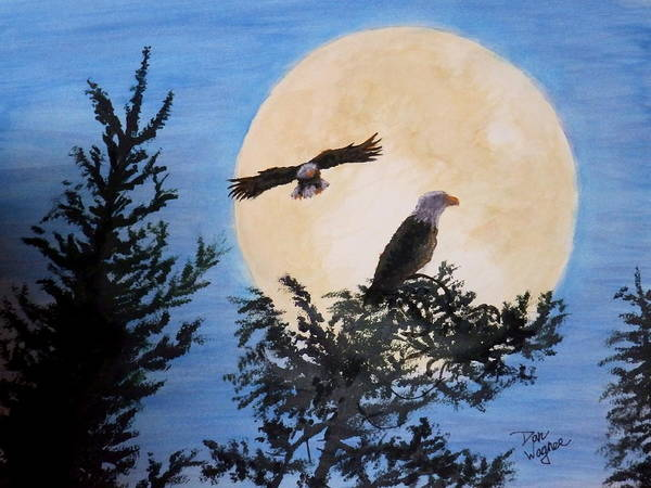 Painting - Full Moon Eagle Flight by Dan Wagner