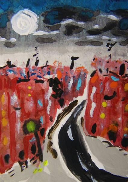 Atc Painting - Full Moon Focus by Mary Carol Williams
