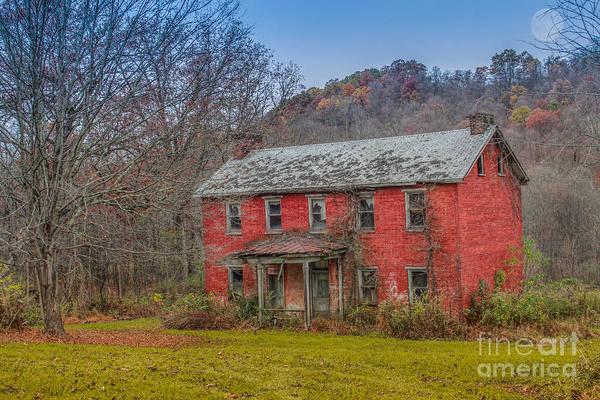 Red Brick Digital Art - Full Moon Haunted House by Randy Steele