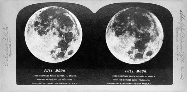 Stereogram Photograph - Full Moon In 1870s by Us Naval Observatory/science Photo Library