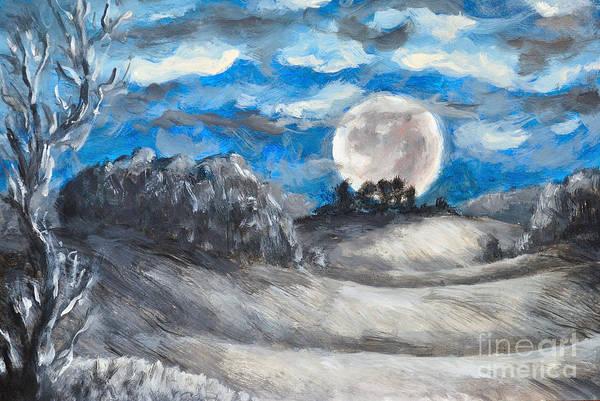 Full Moon Painting - Full Moon by Martin Capek