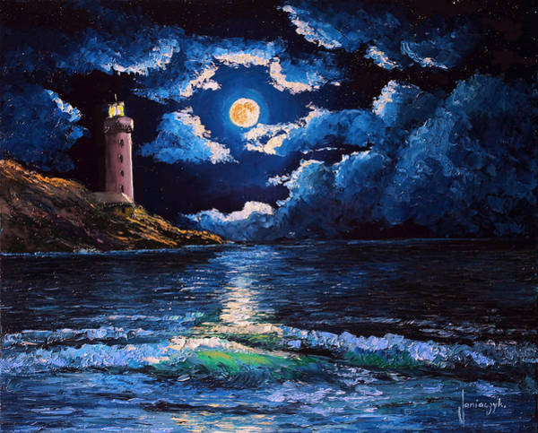 Wall Art - Painting - Full Moon Night by MGL Meiklejohn Graphics Licensing