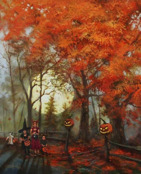 Full Moon Painting - Full Moon On Halloween Lane by Tom Shropshire