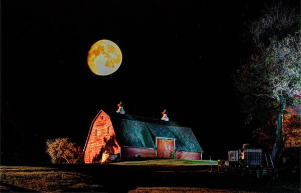 Photograph - Full Moon Over Barn by David Matthews