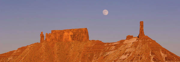 Desert View Tower Photograph - Full Moon Over Castleton Tower, Castle by Panoramic Images