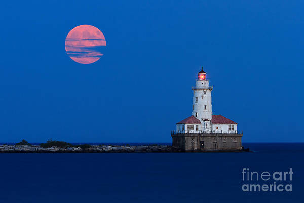 Full Moon Photograph - Full Moon Over Chicago Harbor Lighthouse by Katherine Gendreau
